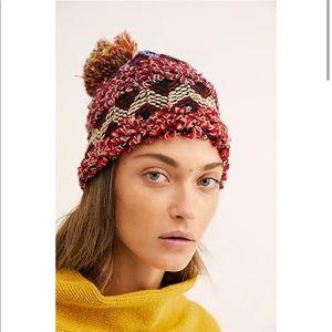 Free People Chevron Rainbow Pom Knit Beanie